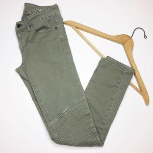 GAP green moto Jeans always skinny ankle Size 25